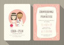 Wedding invitation card with cute groom and bride cartoon stock illustration