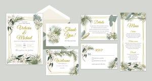 Wedding invitation card design, floral invite. Tropical jungle leaves elegant  frame set , olive green plants, palm tree leaves. royalty free illustration