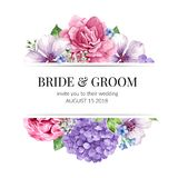 Wedding Invitation card design with flowers in watercolor style on white background. Template for greeting card Stock Images