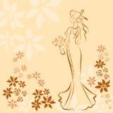 Wedding invitation card with elegant beautiful girl Royalty Free Stock Photography