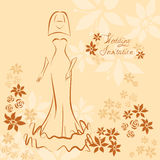 Wedding invitation card with elegant beautiful girl Royalty Free Stock Images