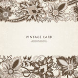 Wedding invitation card with  ethnic flower paisley ornament. Royalty Free Stock Images
