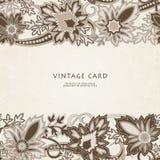 Wedding invitation card with ethnic flower paisley ornament. vector illustration