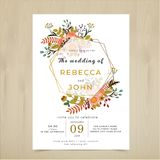 Vector Wedding Invitation card. Flora flower rustic pattern set vector illustration