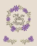 Wedding invitation card with floral crown royalty free illustration