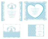 Wedding invitation card with floral elements. Stock Photos