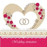 Wedding invitation card with floral elements. Royalty Free Stock Photography
