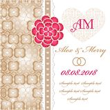 Wedding invitation card with floral elements. Royalty Free Stock Image