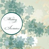 Wedding invitation card with floral elements stock illustration