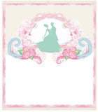 Wedding invitation card with floral elements. Stock Photo