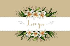 Wedding invitation card floral lily bouquet and lettering stock illustration