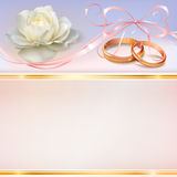 Wedding invitation card. Invitation card for wedding with flower, ribbon and wedding rings Stock Illustration