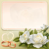Wedding invitation card. Invitation card for wedding with flower, ribbon and wedding rings Royalty Free Illustration