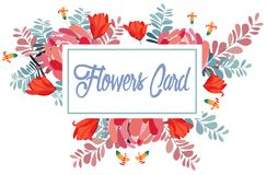 Wedding invitation card with flower. Romantic Peonies background.  Royalty Free Stock Photos