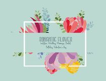 Romantic Flower card. Invitation. Wedding, marriage, bridal, birthday, Valentine`s day. Wedding invitation card with flower. Romantic Peonies background Royalty Free Stock Image
