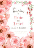 Wedding invitation card. Flower wedding invitation card, save the date card, greeting card Stock Images