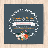 Wedding invitation card with flower Templates Stock Photos