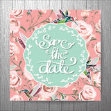 Wedding invitation card with flower Templates vintage sweet  Royalty Free Stock Images