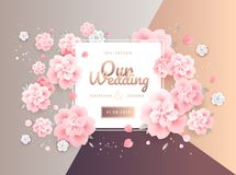 Wedding invitation card flowers background template vector. Gold Royalty Free Stock Photo