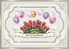 Wedding invitation card with flowers and balloons. In a frame with an ornament Stock Image