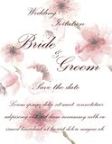 Wedding invitation card with flowers. And dividers, ideal for weddings. Pink and grey colors. Editable Stock Photography
