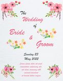 Wedding invitation card with flowers. And dividers, ideal for weddings. Pink and grey colors. Editable Stock Photo