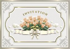 Wedding invitation card with flowers and rings. Wedding invitation card with flowers and hearts in a frame with an ornament Stock Images