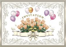 Wedding invitation card with flowers and rings. Wedding invitation card with flowers and balloons in a frame with an ornament Stock Image