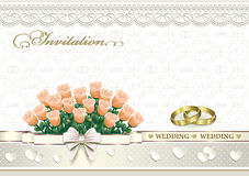 Wedding invitation card with flowers and  rings. Wedding invitation card with flowers, bow and hearts Stock Photography
