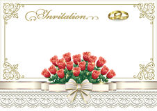 Wedding invitation card with flowers and rings. And decorative ribbon with a bow Stock Images