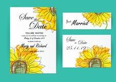 Wedding invitation card flowers,Sunflower. Set of wedding invitation card flowers,Sunflower Stock Photo