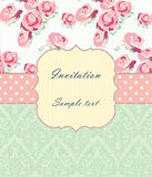 Wedding invitation card with flowers. Vector illustration Stock Images