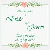 Wedding invitation card with flowers. And dividers, ideal for weddings. Pink and grey colors. Editable Royalty Free Stock Images