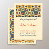 Wedding invitation card with geometric vintage Stock Photos