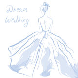 Wedding invitation or card with girl and dress Stock Images