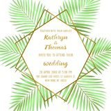 Wedding Tropical Invitation Card. Wedding invitation card with gold geometric artdeco element and green palm leaves. Romantic exotic square mock up, template for Royalty Free Stock Photo