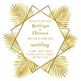 Wedding Luxury Tropical Invitation Card. Wedding invitation card with gold geometric artdeco element and palm leaves. Luxury exotic square mock up, template for Stock Images