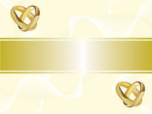 A wedding invitation card with gold rings Stock Photo