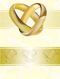 A wedding invitation card with gold rings Stock Photography