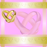 A wedding invitation card with gold rings Royalty Free Stock Image