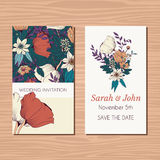 Wedding invitation card with hand drawn flower and ribbon backgr Stock Images