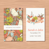 Wedding invitation card with hand drawn flower and ribbon backgr Royalty Free Stock Images