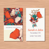 Wedding invitation card with hand drawn flower and ribbon background Royalty Free Stock Image
