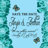 Wedding invitation card with hand drawn flowers  and butterfly Royalty Free Stock Photo
