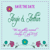 Wedding invitation card with hand drawn flowers Stock Image