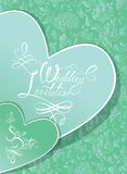Wedding Invitation Card with hearts and calligraphic text  Royalty Free Stock Photos