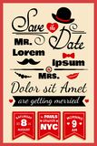 Wedding invitation card in hipster style Stock Images