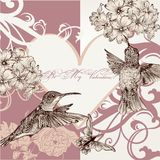 Wedding invitation card with hummingbirds Royalty Free Stock Image