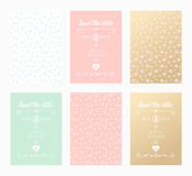 Wedding invitation card. Illustration set. Front and back template. Illustration Royalty Free Stock Photography