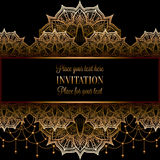 Wedding invitation or card , intricate mandala with beads background.  Royalty Free Stock Photos